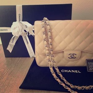 CHANEL Classic Double Flap Beige Silver Hardware